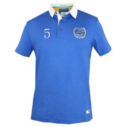 D555 Rugby Style Polo Shirt - Royal Blue